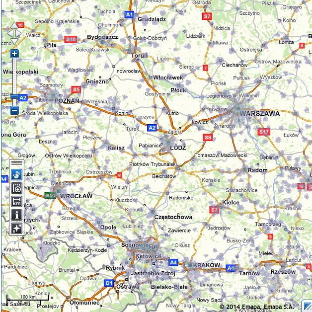 Przykładowa mapa zasięgu LTE w centralnej i południowej Polsce